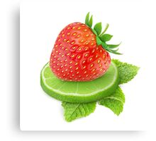Strawberry, lime and mint Canvas Print