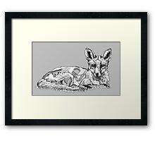 Fox Black Tonal Fineliner Drawing Framed Print