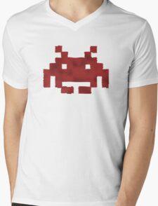 Scaled Invader in red Mens V-Neck T-Shirt