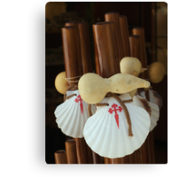 Scallop shell and gourd walking sticks Canvas Print