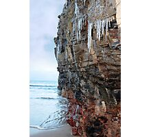 icicles dripping on a cliff face Photographic Print