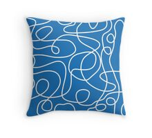 Doodle Line Art | White Lines on Bright Blue Background Throw Pillow