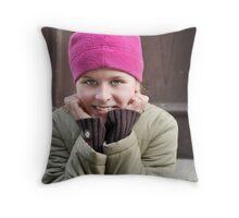 Pink hat girl Throw Pillow