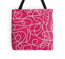Doodle Line Art | White Lines on Deep Pink Background Tote Bag