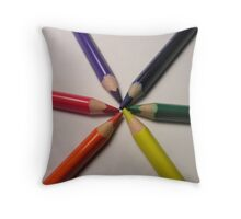 crayon colour wheel Throw Pillow