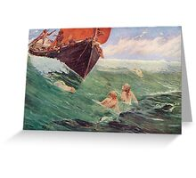Mermaids luring Sailors to their death on the rocks Greeting Card