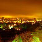 Winter night city Kremenchug Ukraine by fenist