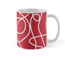 Doodle Line Art | White Lines on Cherry Red Background Mug
