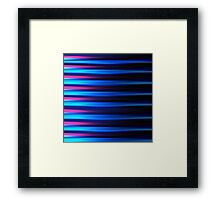 Neon blue and pink horizontal lines abstract linework Framed Print