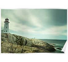 Lighthouse and a long sea Poster