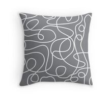 Doodle Line Art | White Lines on Gray Background Throw Pillow
