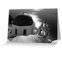 Churches of Santorini ~ Black & White Greeting Card