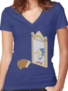 Hedgehog sees Sonic in Mirror of Erised (Harry Potter) Women's Fitted V-Neck T-Shirt