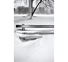 The Snow Covered Bench Photographic Print
