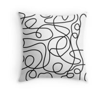 Doodle Line Art | Black on White Throw Pillow