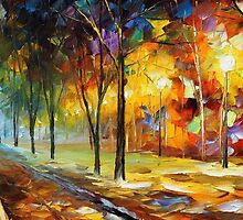 Long trees - original oil painting on canvas by Leonid Afremov by Leonid  Afremov