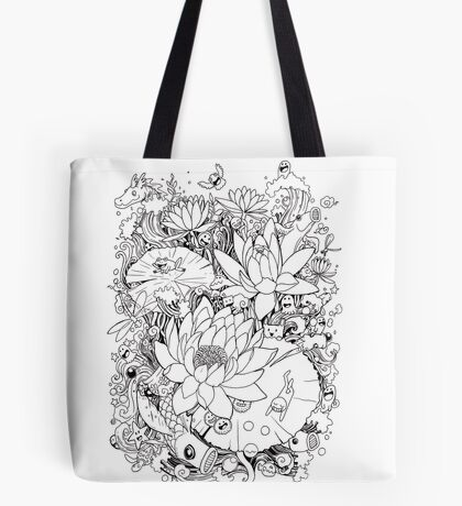 Flower and Monsters - Waterlily Tote Bag