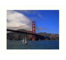 Golden Gate Bridge and a Yacht Art Print