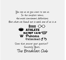 Sincerely Yours the Breakfast Club minimalist |Typography by Jennifer Hughey