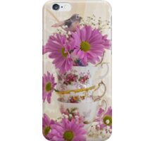 Tea Cups And Daisies  iPhone Case/Skin