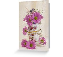 Tea Cups And Daisies  Greeting Card