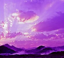 purple misty sunset by Chaim  Schvarcz