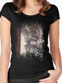 Chinese Dragon - Textured Patterns Women's Fitted Scoop T-Shirt