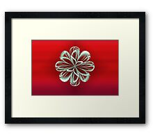 Cyan Bloom on Red Framed Print