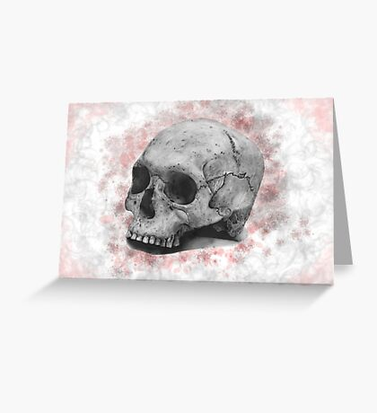 Mixed Media Human Skull Greeting Card