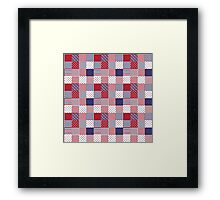 USA Americana Patchwork Red White & Blue Quilt Framed Print
