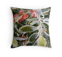 Holly Ice Tree Throw Pillow