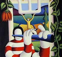 Flute player by window with flowers and girl by Alan Kenny