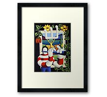 Flute player by window with flowers and girl Framed Print