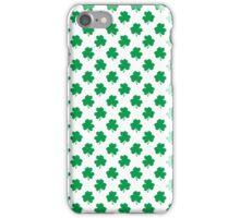 Green Shamrock Clover on White St. Patrick's Day iPhone Case/Skin