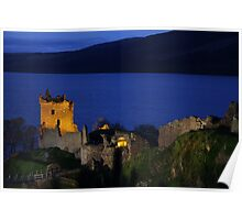 Dusk at Urquhart Castle Poster