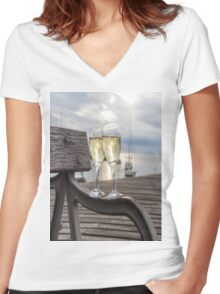 Wine and Sunset Women's Fitted V-Neck T-Shirt