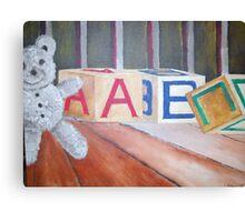 Teddy Bear and Blocks Canvas Print