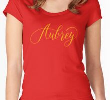 Aubrey - Modern Calligraphy Name Design Women's Fitted Scoop T-Shirt