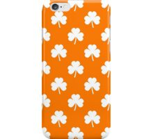 White Heart-Shaped Clover on Orange St. Patrick's Day iPhone Case/Skin