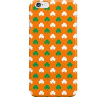 Green And White Heart-Shaped Clover Shamrock On Orange St. Patrick's Day iPhone Case/Skin