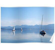 sailing boats in Chiemsee lake, Germany Poster
