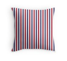 USA Flag Red and Flag Blue Wide Stripes Throw Pillow