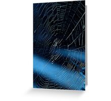 Blue Ray Spider Web Greeting Card