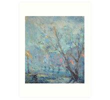 Evening Rainfall  / 1987 / oil on cardboard Art Print