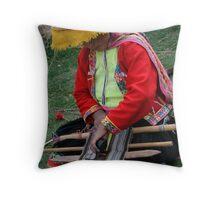 Woman Weaving Throw Pillow