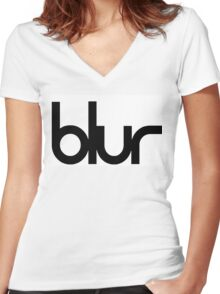 Blur Band  Women's Fitted V-Neck T-Shirt