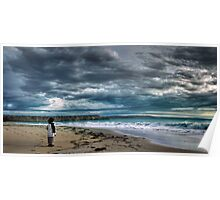 Contemplation - Boy looking out at storm and ocean Poster