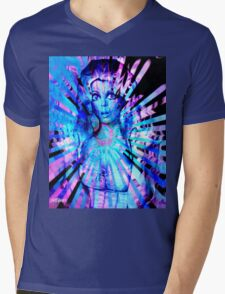 Psychedelic Barbie Mens V-Neck T-Shirt