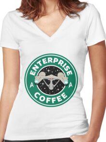 Enterprise Coffee (Star Trek) - Starbucks Women's Fitted V-Neck T-Shirt
