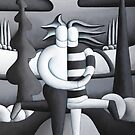 Black and white lovers by lake by Alan Kenny